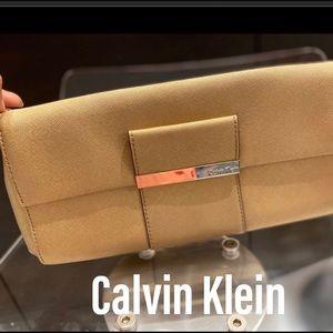 Calvin Klein gold saffiano leather clutch